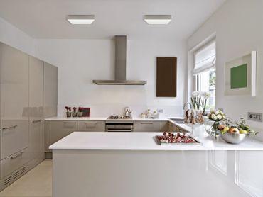 LED Aufbauleuchte 24 Watt quadratisch 30x30cm - warmweiß - silber - dimmbar mit LED Dimmer – Bild 5