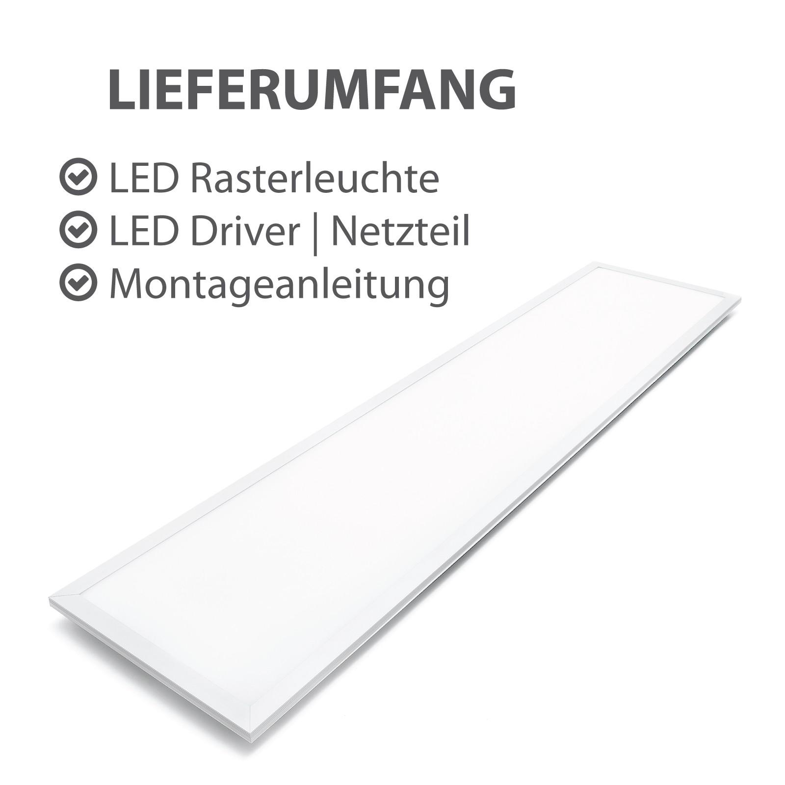 led panel einbauleuchte 40 watt rechteckig 30x120cm neutralwei alu. Black Bedroom Furniture Sets. Home Design Ideas