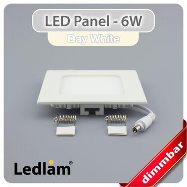 LED Einbaustrahler Panel weiss quadratisch 12 x 12cm 6 Watt neutralweiß dimmbar mit Led Dimmer – Bild 2