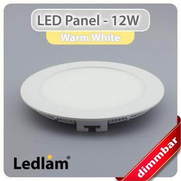 LED Panel weiss rund Ø 17cm 12 Watt warmweiß dimmbar mit Led Dimmer – Bild 1