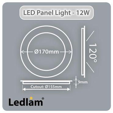 LED Panel weiss rund Ø 17cm 12 Watt warmweiß dimmbar mit Led Dimmer – Bild 3