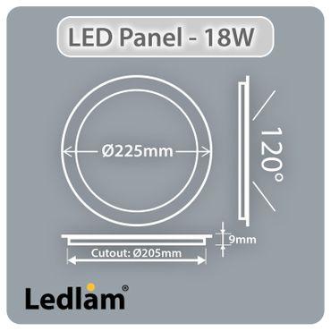 LED Panel weiss rund Ø 22cm 18 Watt warmweiß dimmbar mit Led Dimmer – Bild 3