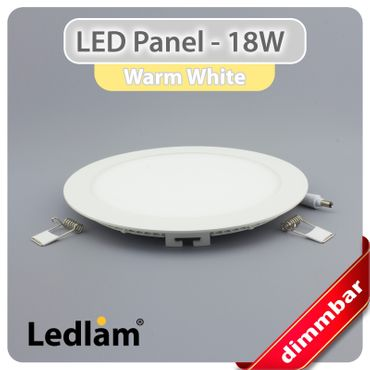 LED Panel weiss rund Ø 22cm 18 Watt warmweiß dimmbar mit Led Dimmer – Bild 2