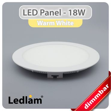 LED Panel weiss rund Ø 22cm 18 Watt warmweiß dimmbar mit Led Dimmer – Bild 1