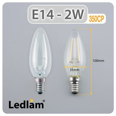 E14 LED Kerze Filament 2 Watt – Bild 3