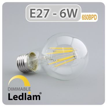 E27 LED Filament klar 6 Watt dimmbar mit LED Dimmer
