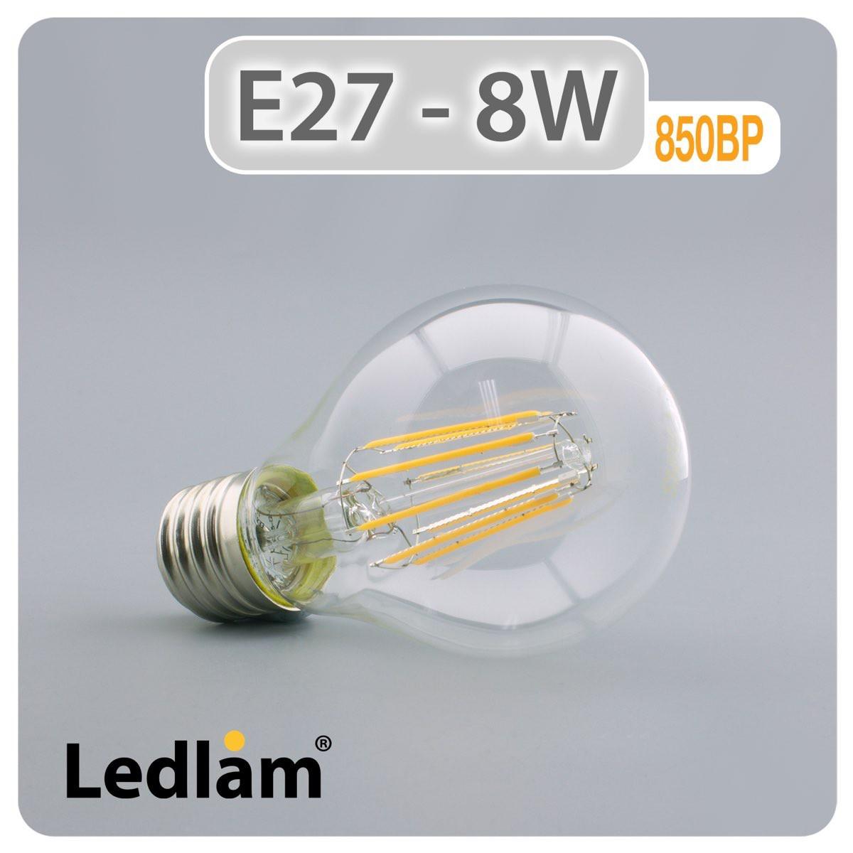 e27 led filament klar 8 watt. Black Bedroom Furniture Sets. Home Design Ideas