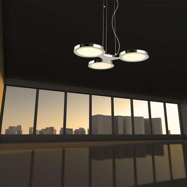 LED Design Lampe Pendelleuchte 3flammig rund chrom – Bild 4