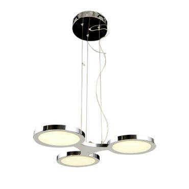 LED Design Lampe Pendelleuchte 3flammig rund chrom – Bild 1