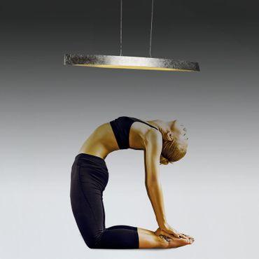 LED Design Pendelleuchte Silberoptik länglich – Bild 3