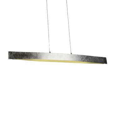 LED Design Lampe Pendelleuchte Silberoptik länglich – Bild 1