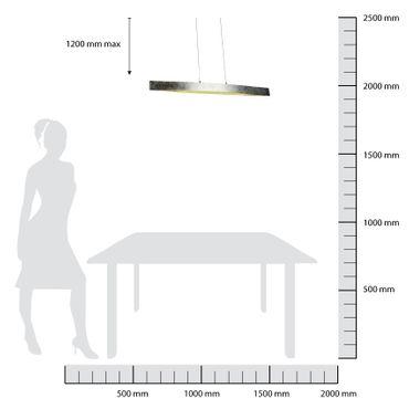 LED Design Pendelleuchte Silberoptik länglich – Bild 2