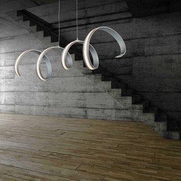 LED Design Lampe Hängeleuchte silber satiniert mit Wellenformen – Bild 3