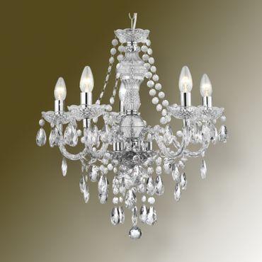 Kronleuchter 5 flammig Lüster Kristall Filament Marie Theresa chrom – Bild 2
