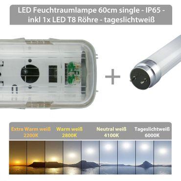 LED Feuchtraumlampe 60cm single - IP65 - inkl 1x LED T8 Röhre - tageslichtweiß – Bild 2