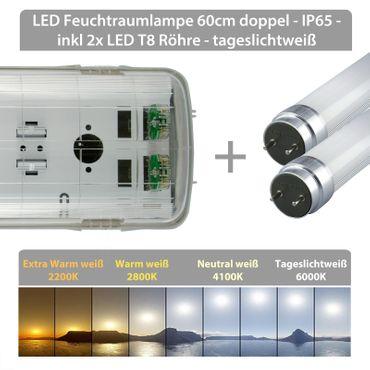 LED Feuchtraumlampe 60cm doppel - IP65 - inkl 2x LED T8 Röhre - tageslichtweiß – Bild 2