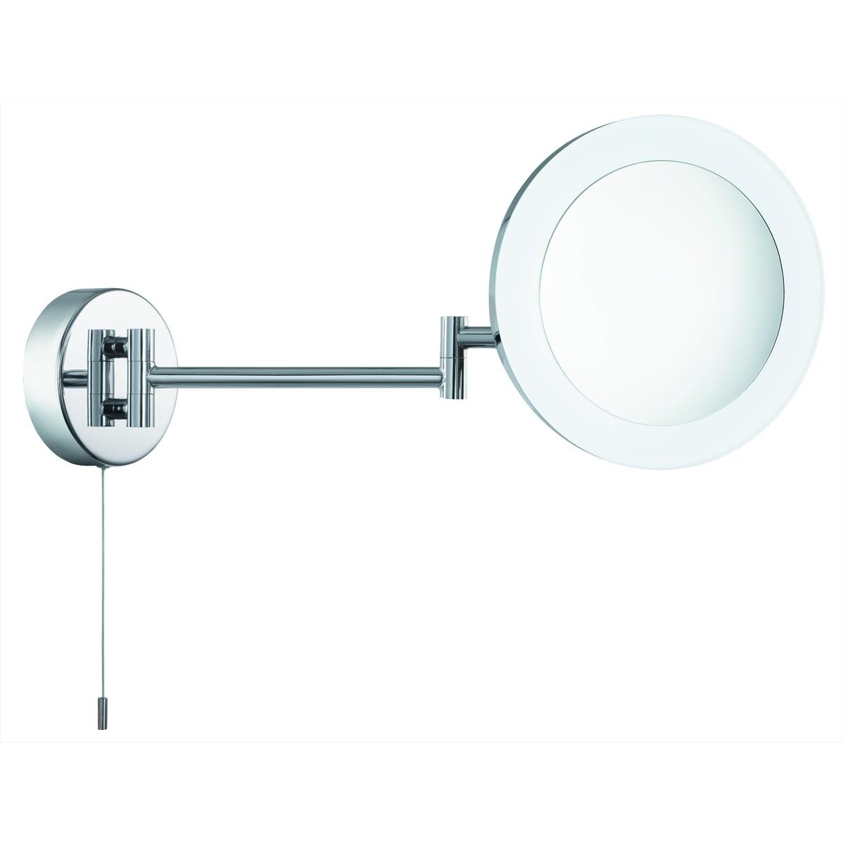 led badezimmer spiegel kosmetikspiegel beleuchtet schwenkbar chrom ip44. Black Bedroom Furniture Sets. Home Design Ideas