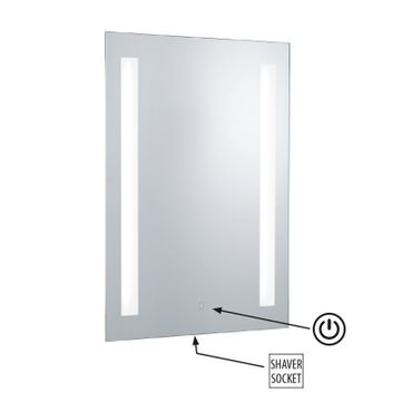 Badezimmer Spiegel beleuchtet, rechteckig, Glas, IP44 mit Steckdose – Bild 2