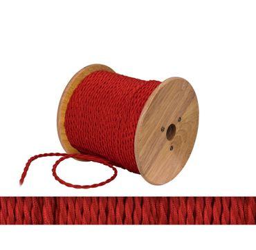 Textilkabel, Lampen Kabel Strom, Stoffkabel, 2-adrig, 2x 0,75mm², rot gezwirbelt  – Bild 1