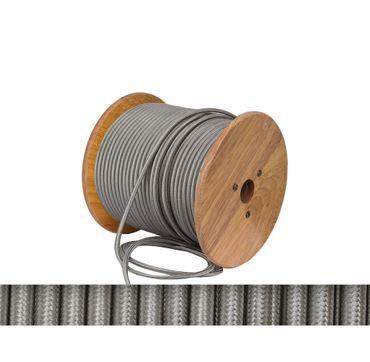 Textilkabel, Lampen Kabel Strom, Stoffkabel, 2-adrig, 2x 0,75mm², silbergrau titan