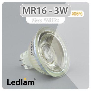 MR16 GU5.3 LED Spot 3W 12V COB 400SPG - kalt weiß  – Bild 1