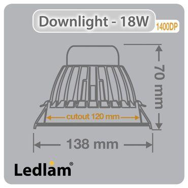 Ledlam Hi Power Einbaustrahler LED 18W COB 1400DP - neutralweiß – Bild 2