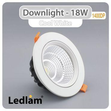 Ledlam Hi Power Einbaustrahler LED 18W COB 1400DP - tageslichtweiß – Bild 1