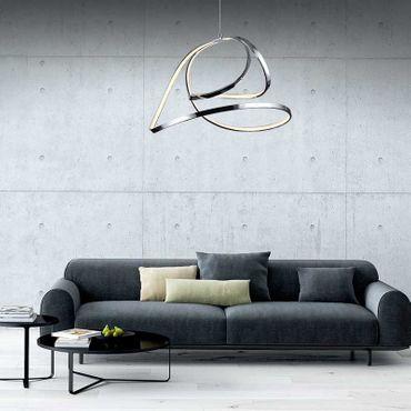 LED Design Lampe Hängeleuchte Silber Matt geschwungen dimmbar mit Funk Fernbedienung – Bild 4