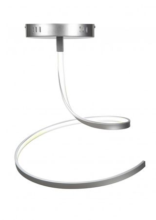 LED Design Lampe Deckenleuchte Silber Matt geschwungen dimmbar mit Funk Fernbedienung – Bild 1