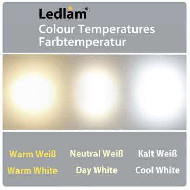 10 Stück Aktionspack LED Einbaustrahler Panel silber rund Ø 12cm 6 Watt warmweiß – Bild 6