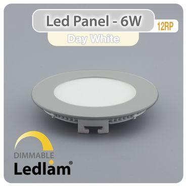 10 Stück Aktionspack LED Einbaustrahler Panel silber rund Ø 12cm 6 Watt neutralweiß dimmbar mit Led Dimmer – Bild 1