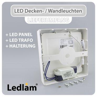 10x Aktionspack Set LED Deckenleuchte weiß 6 Watt quadratisch  12x12cm - warmweiß - dimmbar mit LED Dimmer – Bild 3