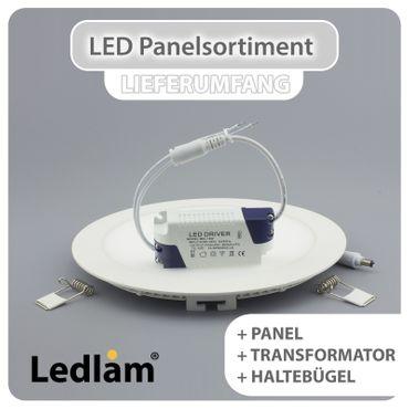3er Set LED Einbaustrahler Panel silber rund Ø 12cm 6 Watt warmweiß dimmbar mit Led Dimmer – Bild 4