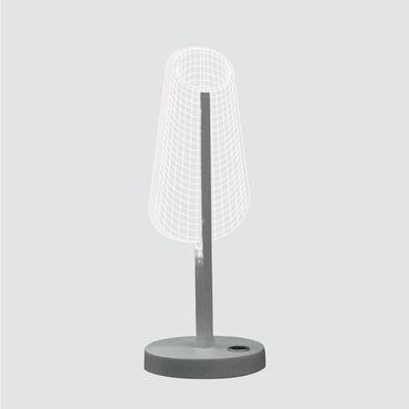 LED Tischleuchte dimmbar 35cm Silber satiniert - Meta-Acryl - dimmbar – Bild 4