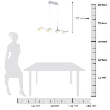 LED Pendelleuchte 8flammig lang Chrom - Opalglas  – Bild 5