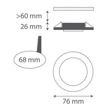 3er SET Einbaurahmen rund fix - chrom - GU10 – Bild 2