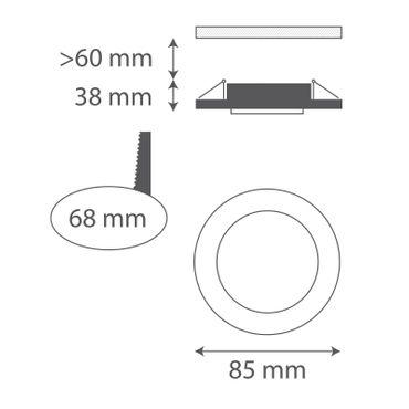 3er SET Badezimmer Einbaurahmen rund fix IP44 klein - weiß - GU10 – Bild 2