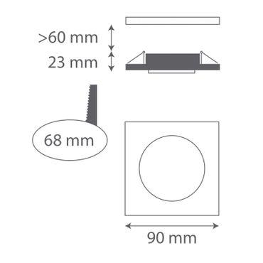 3er SET Einbaurahmen eckig - schwarz Glas - Aluminium - GU10 – Bild 2