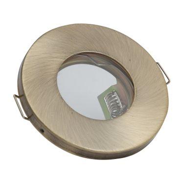 10er SET Badezimmer Einbaurahmen rund fix IP44 klein - altmessing - GU10 – Bild 1