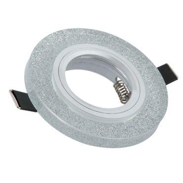 10er SET Einbaurahmen rund - Silber Bruchglas-Optik - Aluminium - GU10 – Bild 1