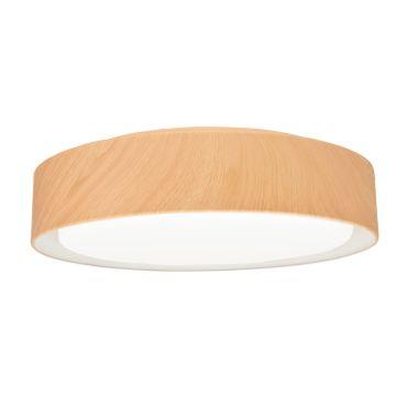 LED Deckenleuchte Metallschirm rund, 47cm, Eichenoptik, LED Modul 24 Watt warmweiß  – Bild 1
