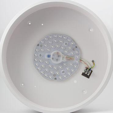 LED Deckenleuchte Metallschirm 40cm, Pinienholzoptik, LED Modul 24 Watt warmweiß  – Bild 3
