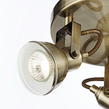 Spot 3 flammig rund Metall Altmessing – Bild 2