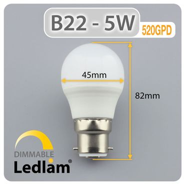 B22 LED Golfball 5 Watt warmweiß dimmbar – Bild 3