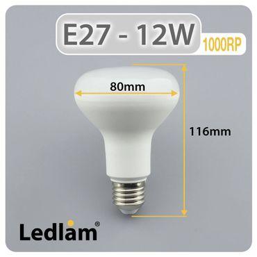 E27 LED Lampe R80 Reflektor 12 Watt kaltweiß – Bild 3