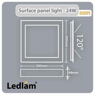 LED Aufbauleuchte 24 Watt quadratisch 30x30cm - Design - Alu gebürstet - warmweiß – Bild 5