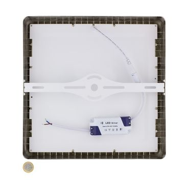 LED Aufbauleuchte 24 Watt quadratisch 30x30cm - Design - Alu gebürstet - warmweiß – Bild 4