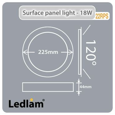 LED Aufbauleuchte 18 Watt rund 22cm Design - weiß - neutralweiß - dimmbar – Bild 5
