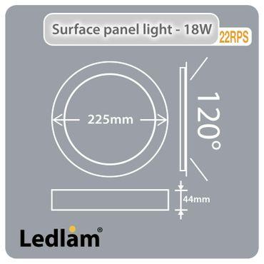 LED Aufbauleuchte 18 Watt rund 22cm Design - Alu gebürstet - warmweiß - dimmbar – Bild 5