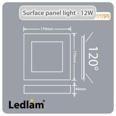 LED Aufbauleuchte 12 Watt quadratisch 17x17cm Design - Alu gebürstet - warmweiß - dimmbar – Bild 5